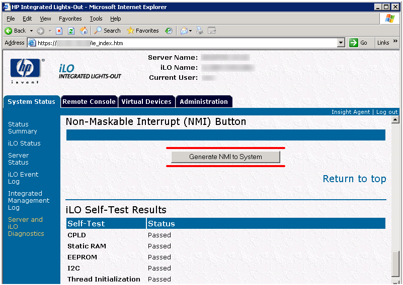 Forcing a Blue Screen via iLO