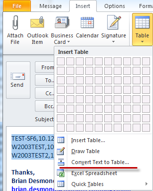 how to put a list into a table in word